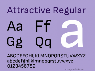 Attractive Regular Version 1.000;PS 001.000;hotconv 1.0.88;makeotf.lib2.5.64775 Font Sample