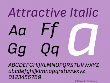 Attractive Italic Version 1.000;PS 001.000;hotconv 1.0.88;makeotf.lib2.5.64775 Font Sample