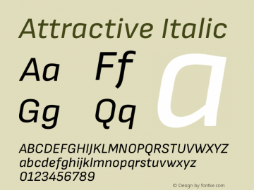 Attractive Italic Version 1.000 Font Sample