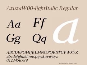 AzuzaW00-lightItalic Regular Version 2.00图片样张