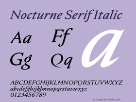 Nocturne Serif Italic Version 1.000;PS 001.000;hotconv 1.0.88;makeotf.lib2.5.64775 Font Sample