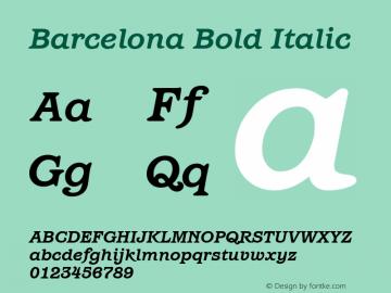 Barcelona Bold Italic Version 1.00 Font Sample