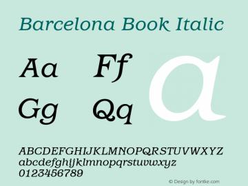 Barcelona Book Italic Version 1.00 Font Sample