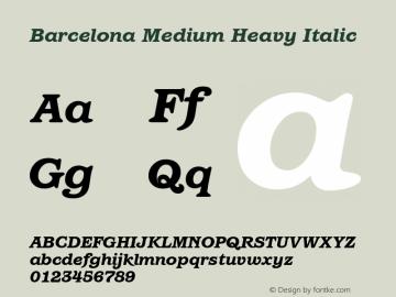 Barcelona Medium Heavy Italic Version 1.00 Font Sample