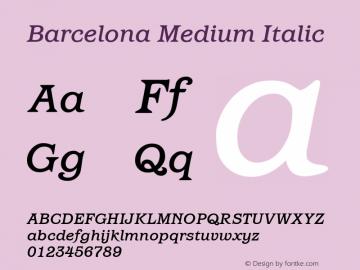 Barcelona Medium Italic Version 1.00 Font Sample