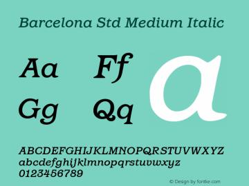 Barcelona Std Medium Italic Version 1.000 Font Sample