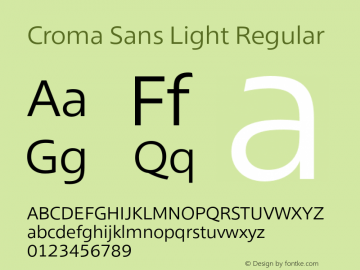 Croma Sans Light Regular Version 1.000 Font Sample