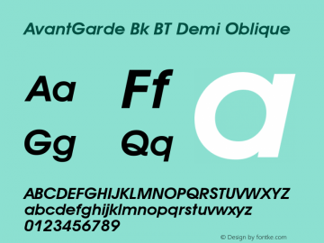 AvantGarde Bk BT Demi Oblique mfgpctt-v4.4 Dec 14 1998 Font Sample