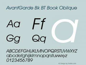 AvantGarde Bk BT Book Oblique mfgpctt-v4.4 Dec 14 1998 Font Sample
