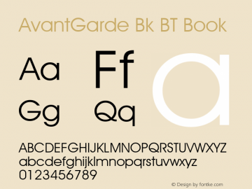 AvantGarde Bk BT Book mfgpctt-v1.52 Tuesday, January 12, 1993 3:55:26 pm (EST) Font Sample