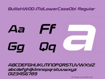 BullishW00-MdLowerCaseObl Regular Version 1.00 Font Sample