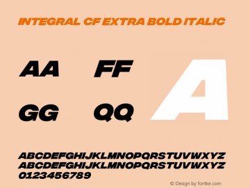 Integral CF Extra Bold Italic Version 1.100 Font Sample