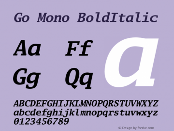 Go Mono BoldItalic Version 2.008; ttfautohint ( Font Sample
