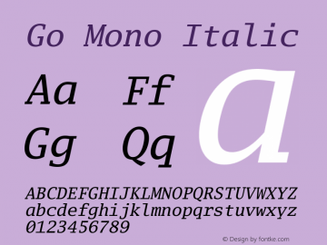 Go Mono Italic Version 2.008; ttfautohint ( Font Sample