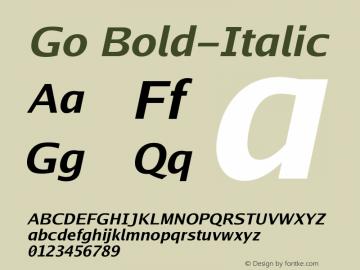 Go Bold-Italic Version 2.008; ttfautohint ( Font Sample