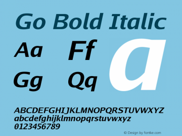 Go Bold Italic Version 2.008; ttfautohint (v1.6) Font Sample