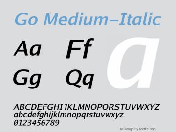Go Medium-Italic Version 2.008; ttfautohint (v1.6) Font Sample