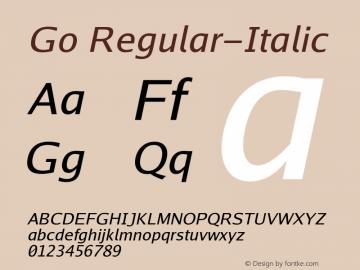 Go Regular-Italic Version 2.008; ttfautohint (v1.6) Font Sample