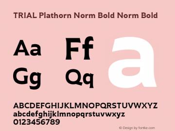 TRIAL Plathorn Norm Bold Norm Bold Version 1.000图片样张