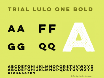 TRIAL Lulo One Bold Version 1.000 Font Sample