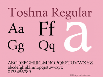Toshna Regular Version 1.007;PS 1.005;hotconv 1.0.88;makeotf.lib2.5.647800 Font Sample