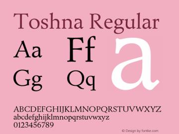 Toshna Regular Version 1.007;PS 1.005;hotconv 1.0.88;makeotf.lib2.5.647800图片样张