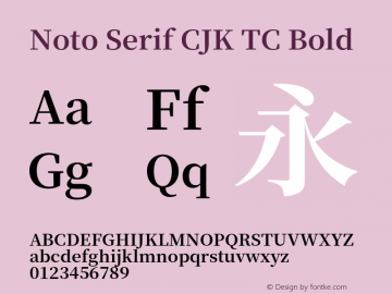 Noto Serif CJK TC Bold Version 1.000;PS 1;hotconv 16.6.53;makeotf.lib2.5.65590 Font Sample