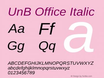 UnB Office Italic Version 1.00 Font Sample