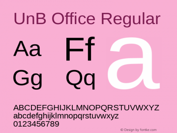 UnB Office Regular Version 1.00 Font Sample