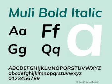 Muli Bold Italic Version 2.001 Font Sample