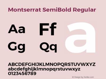 Montserrat SemiBold Regular Version 6.001 Font Sample