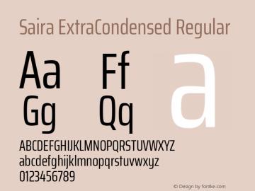Saira ExtraCondensed Regular Version 0.072图片样张