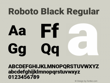 Roboto Black Regular Version 2.137; 2017图片样张