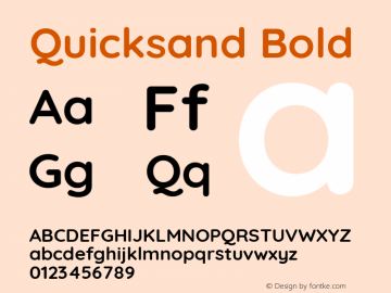 Quicksand Bold Version 3.000 Font Sample