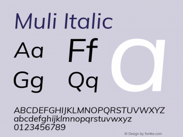 Muli Italic Version 2.001 Font Sample