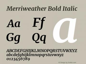 Merriweather Bold Italic Version 2.001 Font Sample
