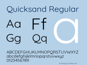 Quicksand Regular Version 3.000 Font Sample