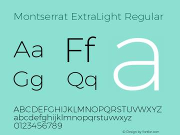 Montserrat ExtraLight Regular Version 6.001 Font Sample