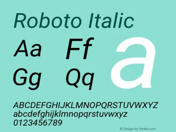 Roboto Italic Version 2.137; 2017 Font Sample