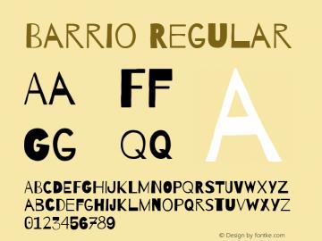 Barrio Regular Version 1.005 Font Sample