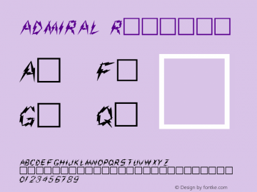 ADMIRAL Regular Altsys Fontographer 3.5  3/17/97 Font Sample