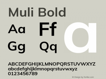 Muli Bold Version 2.001 Font Sample