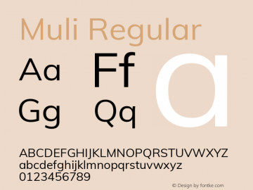 Muli Regular Version 2.001 Font Sample