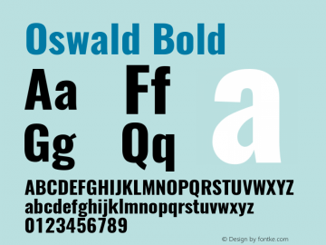 Oswald Bold Version 4.002 Font Sample
