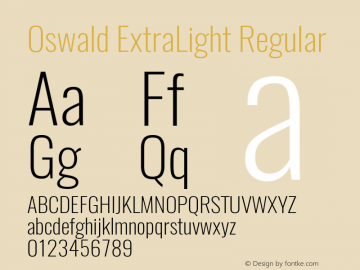 Oswald ExtraLight Regular Version 4.002 Font Sample