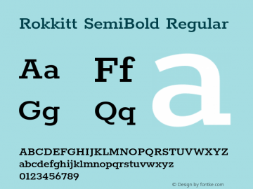 Rokkitt SemiBold Regular Version 3.002 Font Sample
