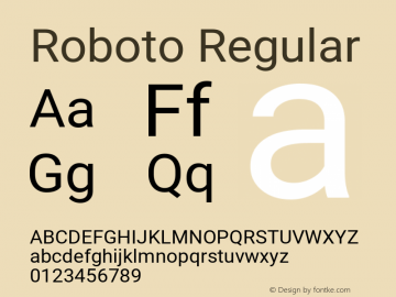 Roboto Regular Version 2.137; 2017 Font Sample