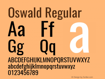 Oswald Regular Version 4.002 Font Sample