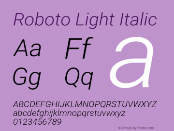 Roboto Light Italic Version 2.137; 2017图片样张