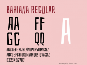 Bahiana Regular Version 1.005 Font Sample